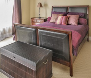Queen Bed Frame (Leather & Cherrywood) – $180